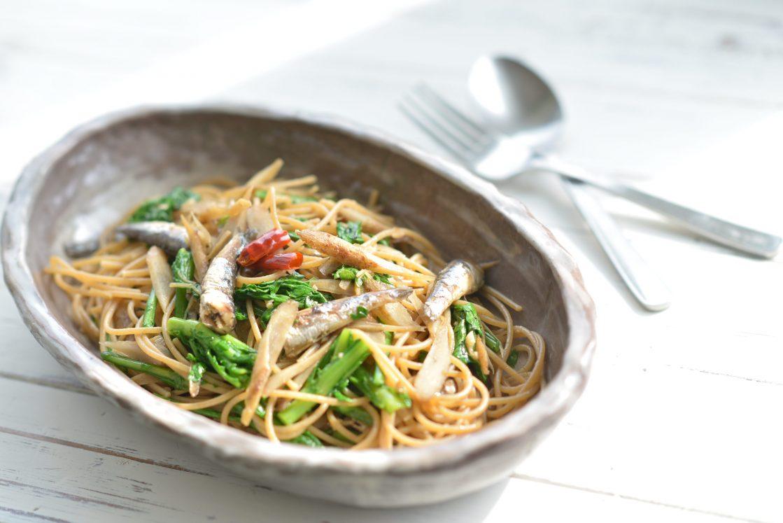 鰯と野菜の和風ペペロンチーノ